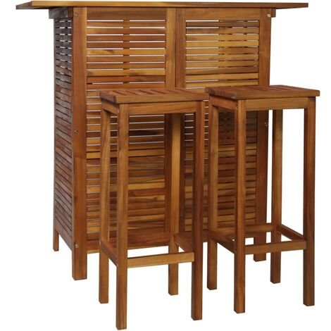 Bar Table and Chair Set 3 Pieces Solid Acacia Wood - Brown