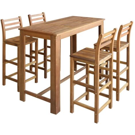 Bar Table and Chair Set 5 Pieces Solid Acacia Wood - Brown