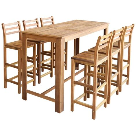 Bar Table and Chair Set 7 Pieces Solid Acacia Wood - Brown
