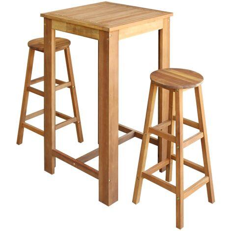 Bar Table and Stool Set Solid Acacia Wood 3 Pieces
