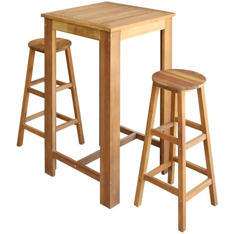 Bar Table and Stool Set 3 Pieces Solid Acacia Wood - Brown
