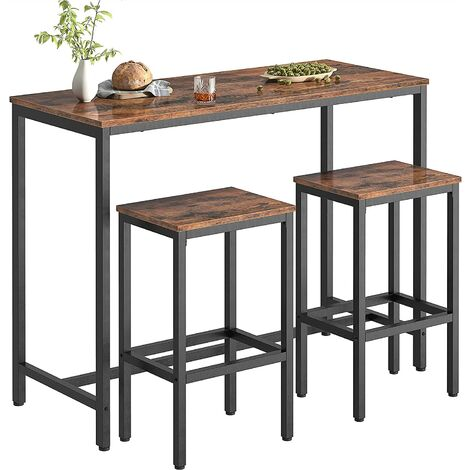 """main image of """"Bar Table and Stools Set, 120 cm Breakfast Bar Table High and Chairs Set, Kitchen Pub Table and 2 Bar Stools, for Small Space, Living Room, Dining Room, Industrial, HOOBRO EBF52BT01 - Rustic Brown"""""""