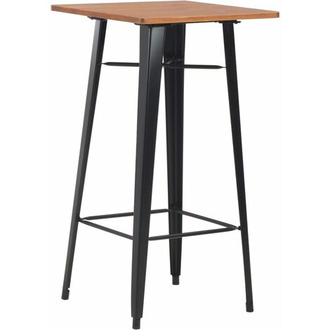 Bar Table Black 60x60x108 cm Solid Pine Wood Steel