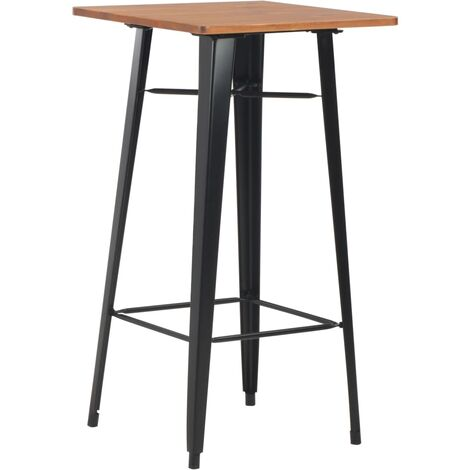 Bar Table Black 60x60x108 cm Solid Pine Wood Steel - Black