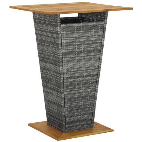"""main image of """"Bar Table Grey 80x80x110 cm Poly Rattan and Solid Acacia Wood24626-Serial number"""""""