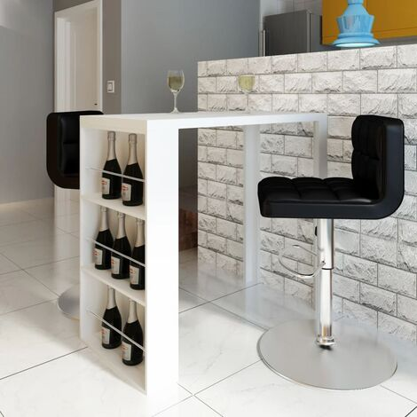 Bar Table MDF with Wine Rack High Gloss White - White