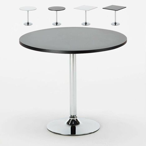Bar Table ronde blanc carré noir 70x70 BISTROT