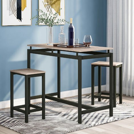 """main image of """"Bar Table Set, Bar Table with 2 Bar Stools, Breakfast Bar Table and Stool Set, Kitchen Counter with Bar Chairs, Industrial for Kitchen, Living Room, Party Room - Oak"""""""