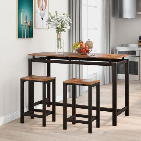 """main image of """"Bar Table Set, Bar Table with 2 Bar Stools, Breakfast Bar Table and Stool Set, Kitchen Counter with Bar Chairs, Industrial for Kitchen, Living Room, Party Room, Rustic Brown"""""""