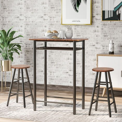 """main image of """"Bar Table Set, Bar Table with 2 Bar Stools, Dining Table Set, Industrial Kitchen Table with Storage, for Bar, Kitchen, Living Room, Restaurant"""""""