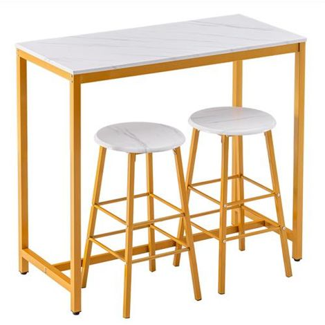 Bar Table with 2 Round Bar Stool Golden Paint Kitchen Furniture Dining
