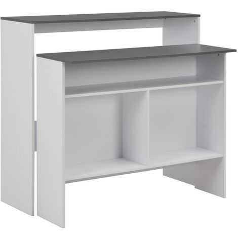 Bar Table with 2 Table Tops White and Grey 130x40x120 cm