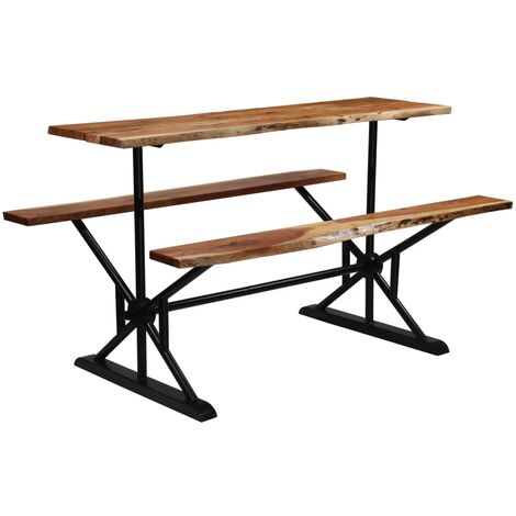 Bar Table with Benches Solid Acacia Wood 180x50x107 cm