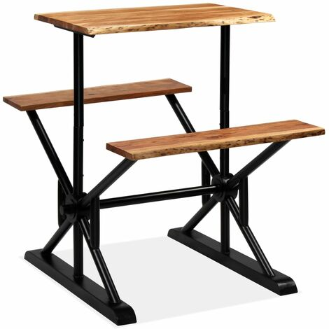 Bar Table with Benches Solid Acacia Wood 80x50x107 cm - Brown
