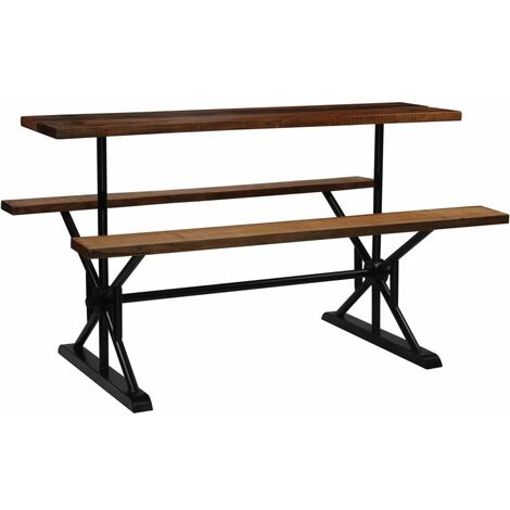 Bar Table with Benches Solid Reclaimed Wood 180x50x107 cm