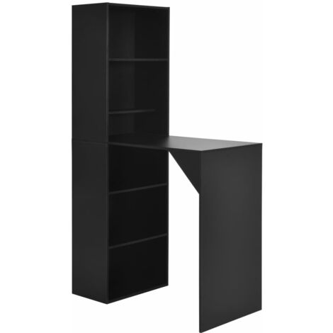 Bar Table with Cabinet Black 115x59x200 cm