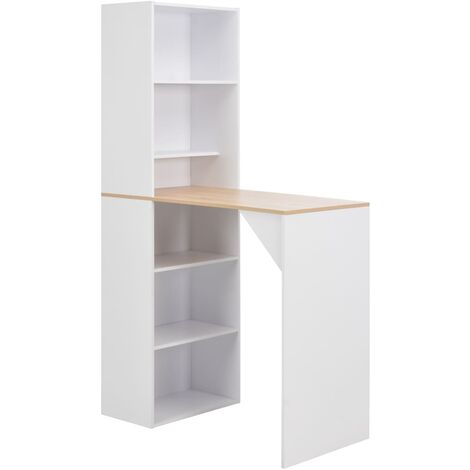 Bar Table with Cabinet White 115x59x200 cm