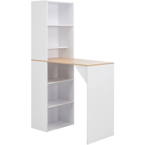 Bar Table with Cabinet White 115x59x200 cm - White