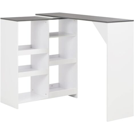 Bar Table with Moveable Shelf White 138x40x120 cm