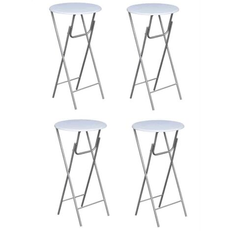 Bar Tables 4 pcs with MDF Tabletop White - White