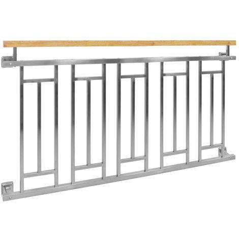 Barandilla balcón estilo francés acero inoxidable 156x90 cm aspecto madera nuevo