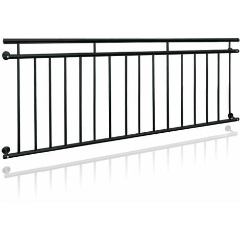 Barandilla balcón francés color negro acero con recubierto de polvo 225x90 cm