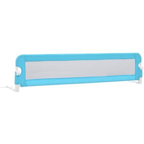 Barandilla de seguridad cama de niño poliéster azul 180x42 cm