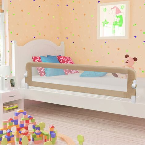 Barandilla de seguridad cama de niño poliéster taupe 180x42 cm