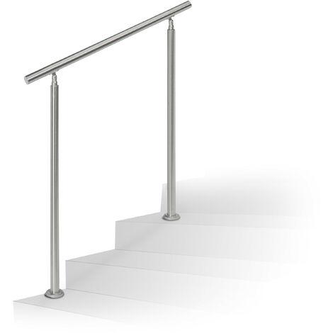 Barandilla Escalera, Pasamanos de 1 m Largo, 2 Postes, Sin Travesaños, 1 Ud., Acero Inoxidable, Plateado