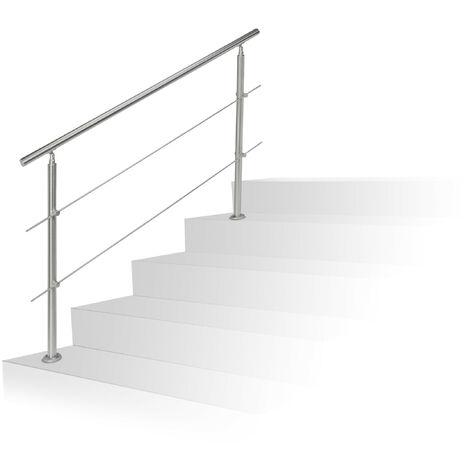 Barandilla Escalera, Pasamanos de 1,5 m Largo, 2 Postes, 2 Travesaños, 1 Ud., Acero Inoxidable, Plateado