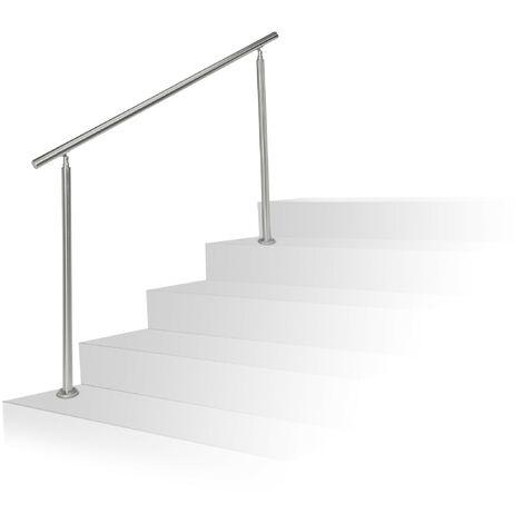 Barandilla Escalera, Pasamanos de 1,5 m Largo, 2 Postes, Sin Travesaños, 1 Ud., Acero Inoxidable, Plateado