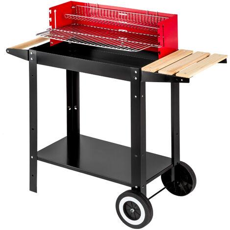 Barbacoa - barbacoa portátil con ruedas, barbacoa móvil de acero y madera con asa, asador para parrilladas con rejilla - negro/rojo/blanco