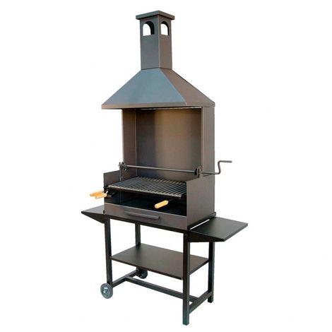 Barbacoa de carbón con chimenea metálica