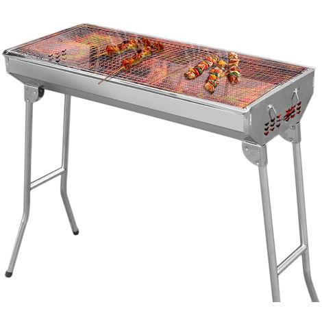 Barbacoa de carbón para jardín, mesa plegable de acero inoxidable para exteriores, 73 x 33,5 x 70 cm