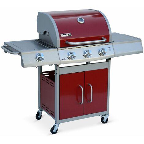 Barbacoa de gas, cocina de exterior, Inox, 3 quemadores + 1 fuego - Richelieu Gris - Inox