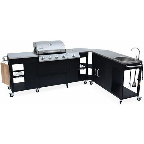 Barbacoa de gas, cocina de exterior, Negro, 5 quemadores, fregadero - Negro