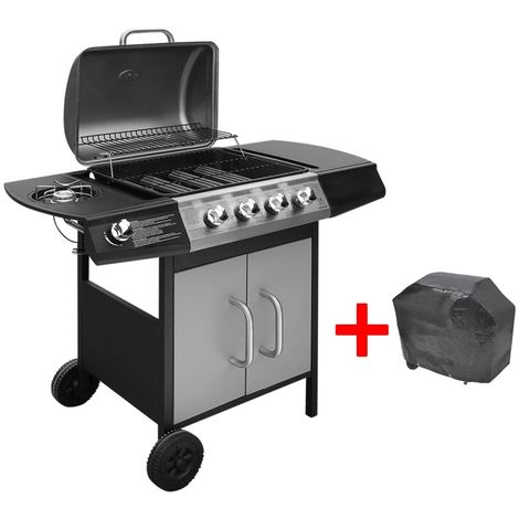 Barbacoa grill de gas 4+1 quemadores negra y plateada