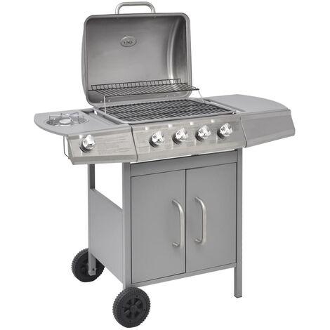 Barbacoa grill de gas 4+1 quemadores plateada