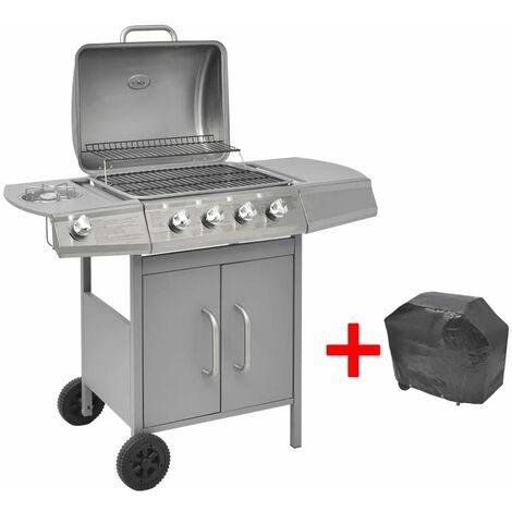 Barbacoa grill de gas 4+1 quemadores plateada - Plateado