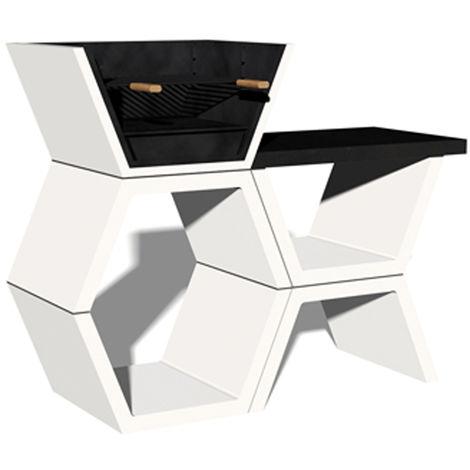 Barbacoa Liber 04 máximo diseño y calidad. Dehormigón bruto hidrófugo blanco y negro