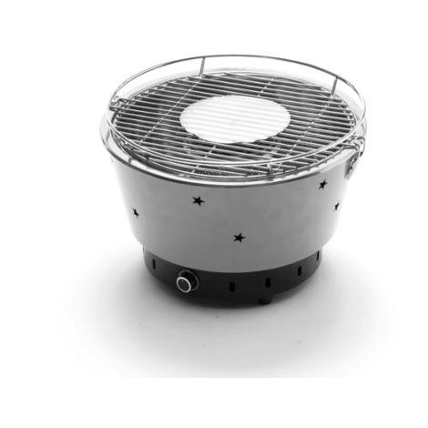 Barbacoa portátil carbón Lux gris con ventilador eléctrico   gris