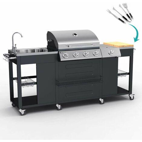 Barbacoa profesional de gas de acero inoxidable con fregadero 4+1 quemadores y parrilla BEEFMASTER