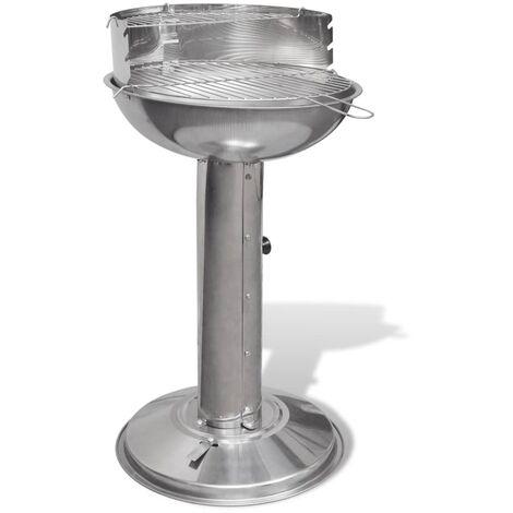 Barbacoa redonda de acero inoxidable con pedestal