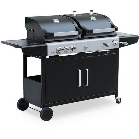 Barbecue 2 en 1 gaz et charbon - Marsac Noir - 2 brûleurs + 1 feu latéral, grilles en fonte, thermomètres