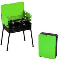 Barbecue a carbonella 30x40x70 cm richiudibile in valigetta acciaio colore  verde ad189c77e4f
