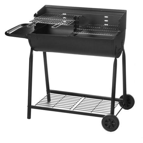 Barbecue à charbon 2 roues noir - L 107 x l 58 x H 94 - Noir