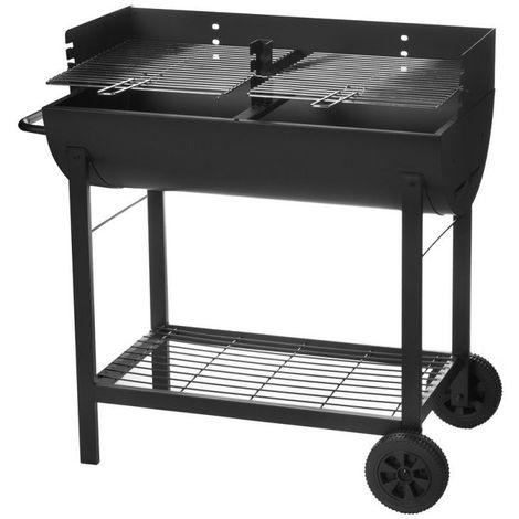 Barbecue à charbon 2 roues noir - L 86 x l 47 x H 94 - Noir