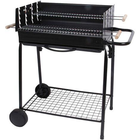 Barbecue à charbon avec 2 grilles en acier chromé Noir 88,5 x 56 x 94 cm - Noir