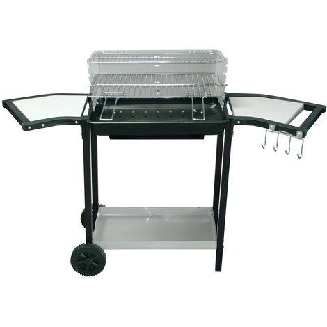 Barbecue à charbon avec desserte Tifo - L. 125 x H. 85 cm - Noir - Noir