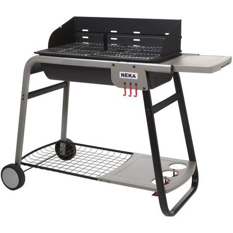 Barbecue à charbon avec tablette et roulettes Azur - 12 Personnes - Noir - Noir